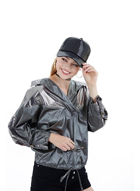 Laslusa Parlak Taşlı Beyzbol Cap Şapka Siyah